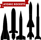 Set of atomic rockets. Vector illustration