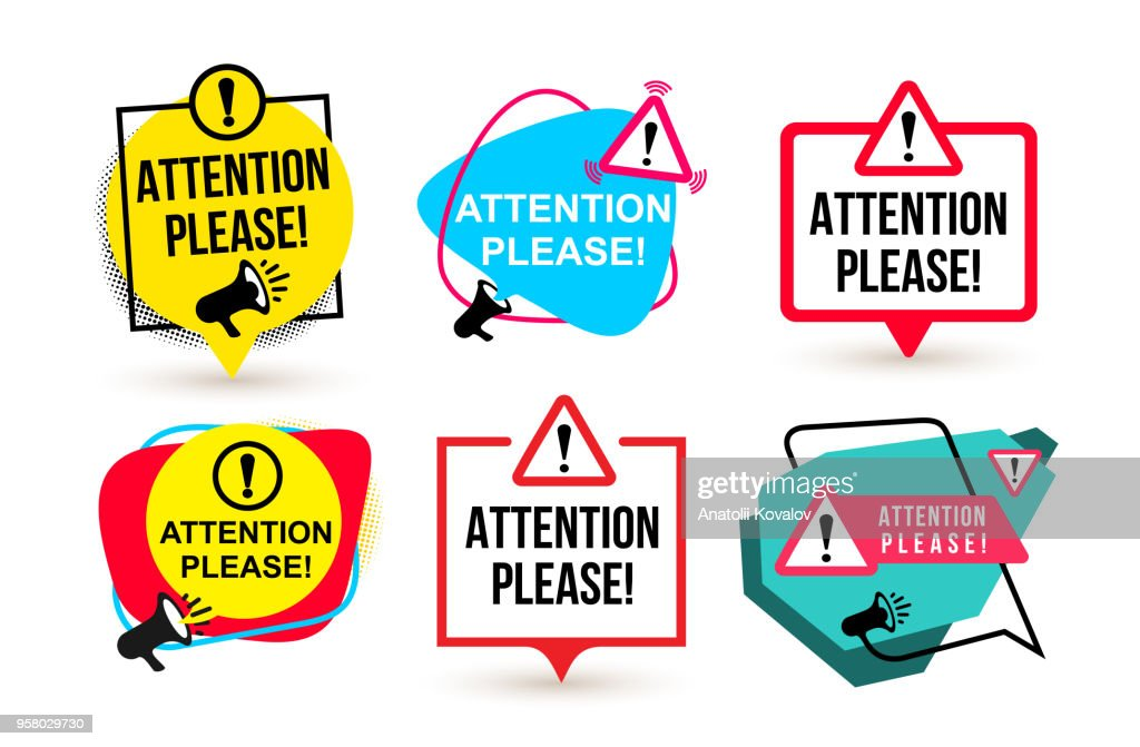 Set of Attention please. Badge with megaphone icons. Flat design. Vector illustration. Isolated on white background