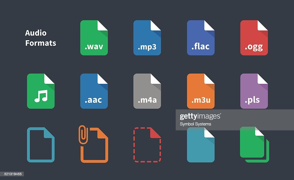 Set of Audio File Extension icons.