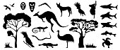 Set of Australian animals and birds silhouettes. The nature of Australia.