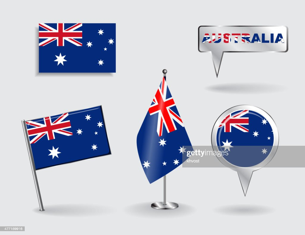 Set of Australian pin, icon and map pointer flags. Vector