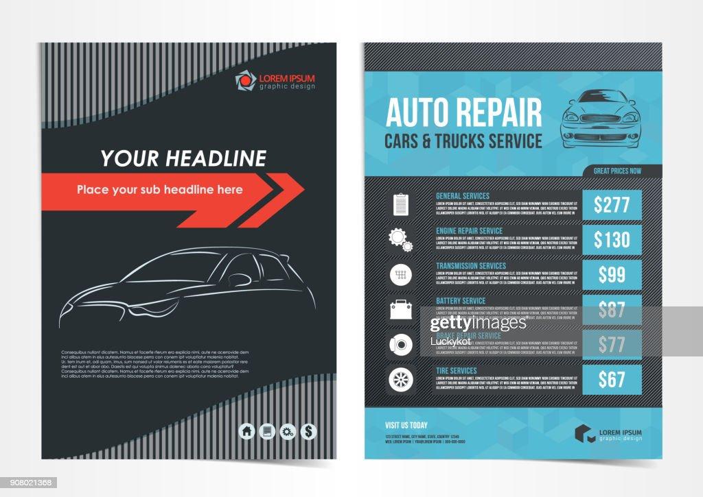 Set of Auto Repair Cars & Trucks Service layout templates, brochure, mockup flyer. Vector illustration.