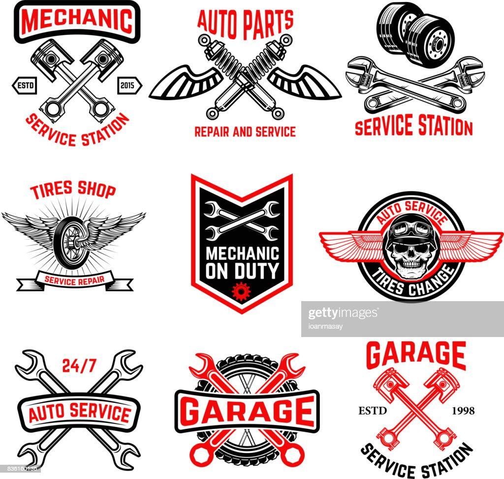 Set of auto service emblems. Auto parts, tires shop,mechanic on duty.