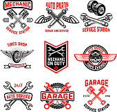 Set of auto service emblems. Auto parts, tires shop,mechanic on duty.