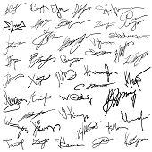 Set of autographs on paper