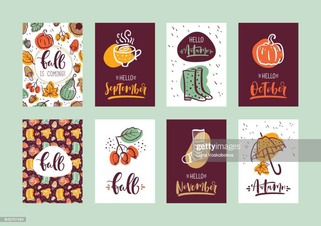 Set of autumn calligraphy cards. Design for poster, card, invitation, placard, brochure, flyer. Vector templates.