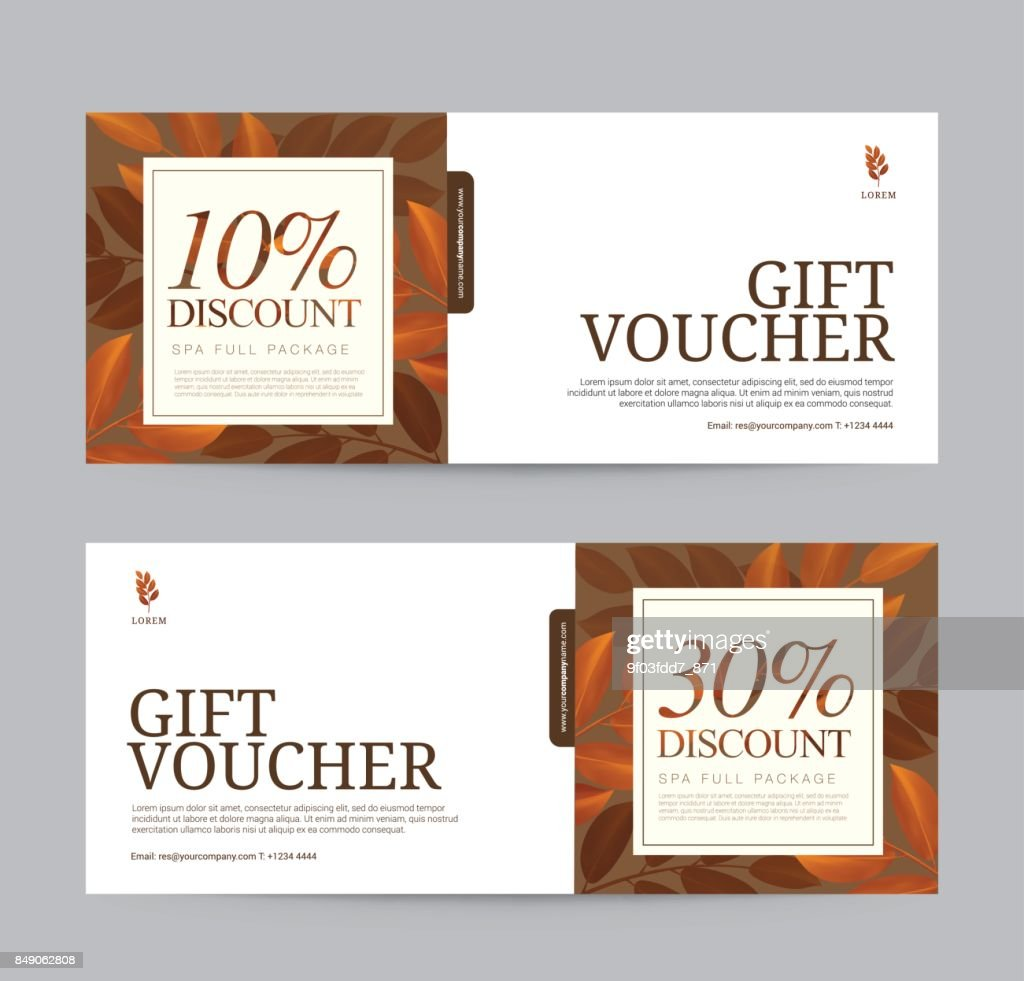 Set of Autumn sale, Gift Voucher flyer template for Spa, Hotel Resort, fashion. Abstract Background Vector illustration