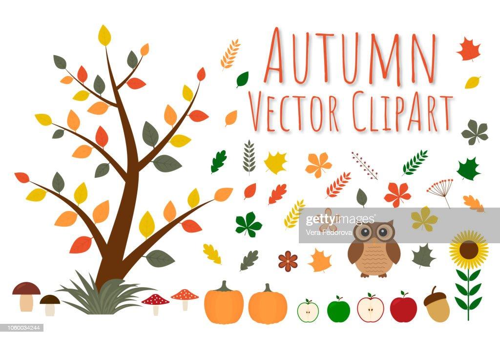 Set of autumn vector clipart.