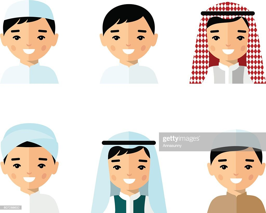 Set of avatar arab man in flat colorful style