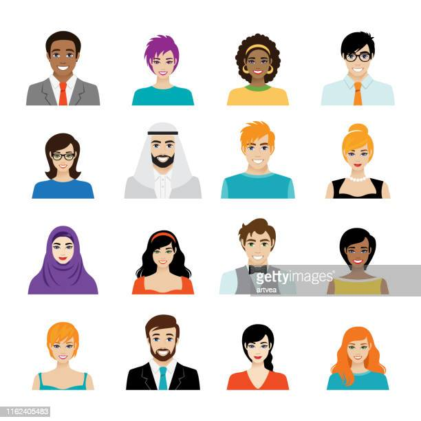 set of avatar color icons stock illustration - human face stock illustrations