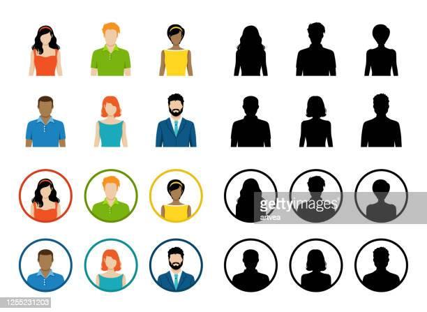 satz von avatar farbsymbole - europäischer abstammung stock-grafiken, -clipart, -cartoons und -symbole