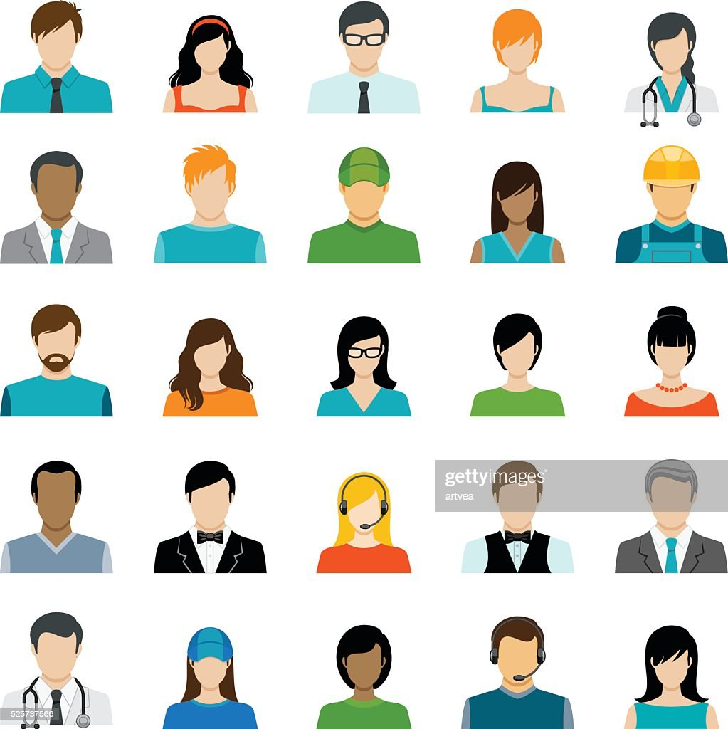 Set of Avatar Color Icons : stock illustration