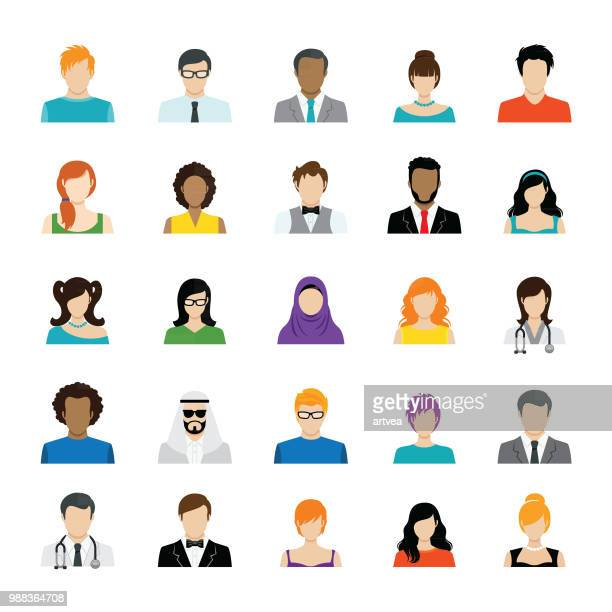 set of avatar color icons - professional occupation stock illustrations