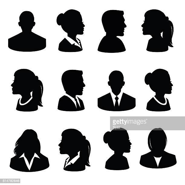 set of avatar flat icons - illustration - profile view stock illustrations
