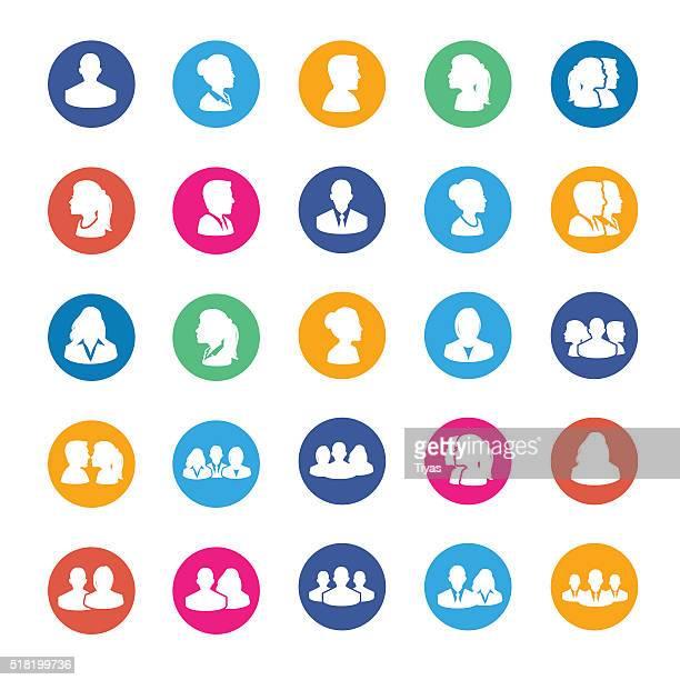 satz von avatar flache symbole - teenager alter stock-grafiken, -clipart, -cartoons und -symbole
