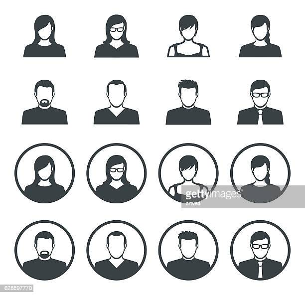 set of avatar flat icons - avatar stock illustrations