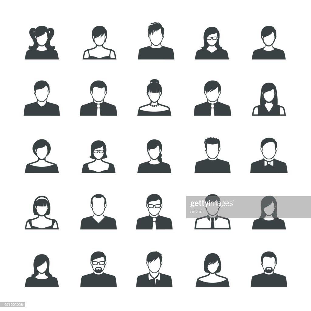 Conjunto de iconos de Avatar con pantalla plana : Ilustración de stock