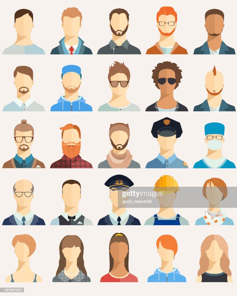 Set of avatar icons.
