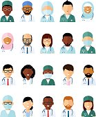 Set of avatar medical people doctor and nurse