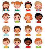 Set of avatars of different boys and girls