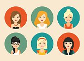 Set of avatars of different women icons. vector flat illustration