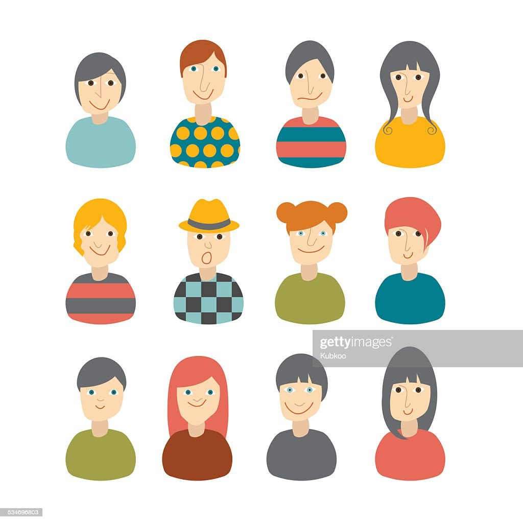 Set of avatars profile pictures flat icons. Vector illustration.