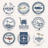 Set of aviation badges