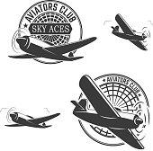 Set of aviators club labels