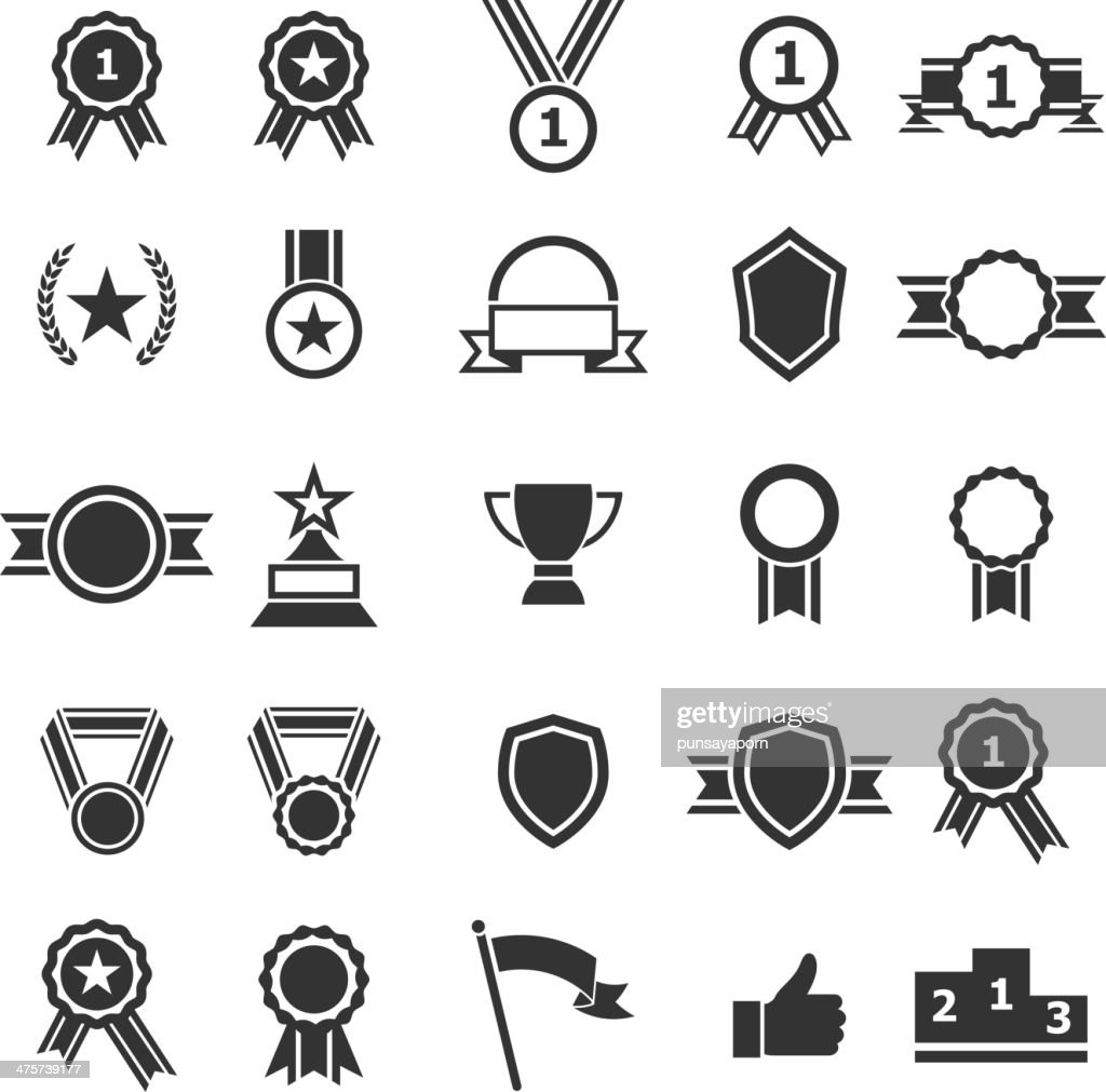 Set of award icons on white background