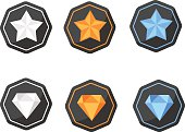 Set of Awards Icons stars and diamonds silver, platinum, gold