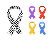 Set of awareness ribbon symbol