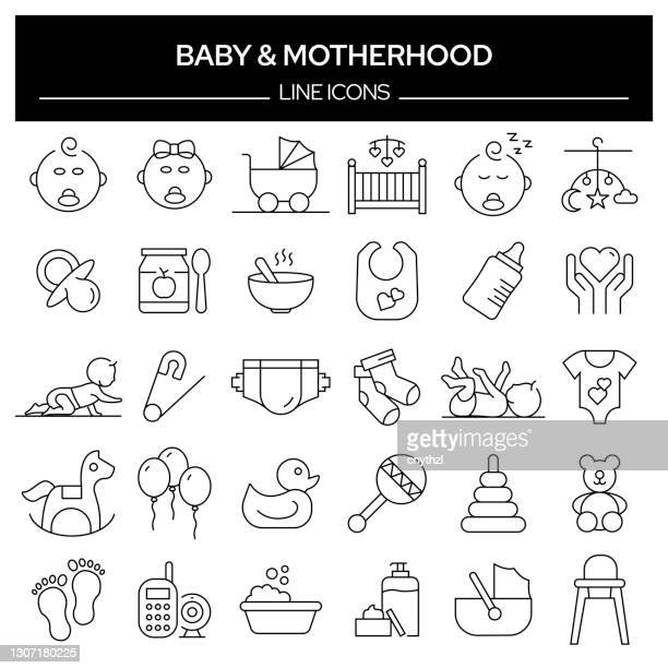 set of baby and motherhood related line icons. outline symbol collection, editable stroke - babyhood stock illustrations