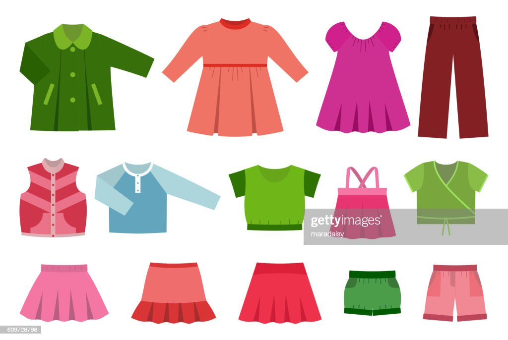 Set of baby clothes. Vector illustration.