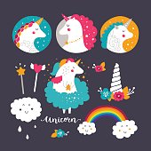 Set of baby unicorn and rainbow