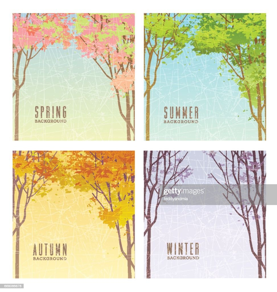 set of backgrounds illustrating the 4 seasons with trees and foliage