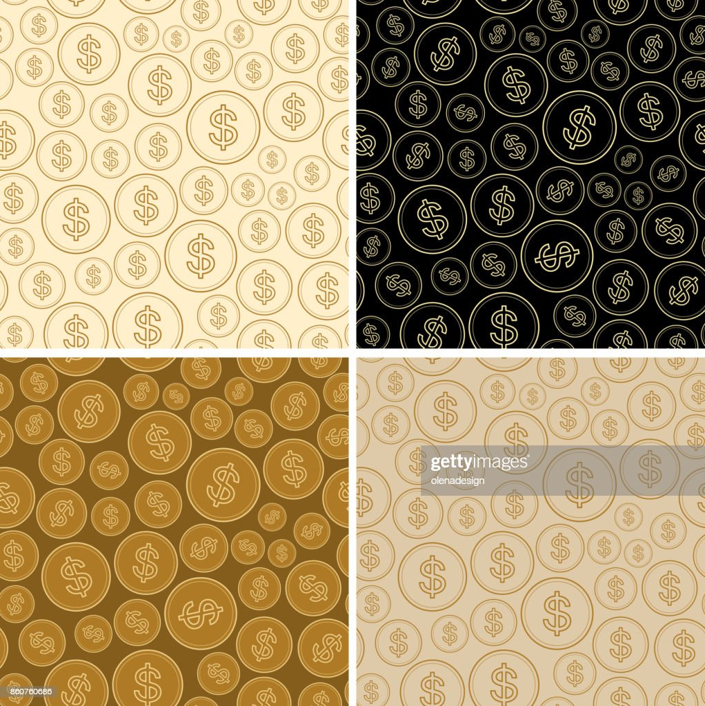 set of backgrounds with dollars - vector dollar seamless patterns