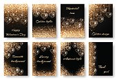 Set of backgrounds with golden hearts