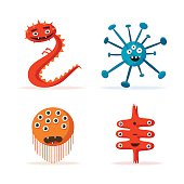 Set of bacteria characters. Cartoon vector illustration. Microbiology