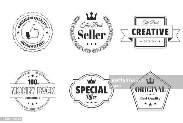 set of badges and labels (outline, line art) - design elements - medallion stock illustrations, clip art, cartoons, & icons