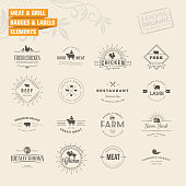 Set of badges and labels elements for meat and grill