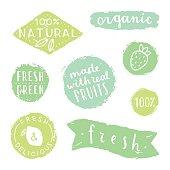Set of badges for packaging design. Natural, fresh, green, organic.