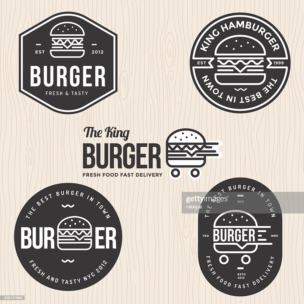 Set of badges, labels and logo for hamburger, burger shop.