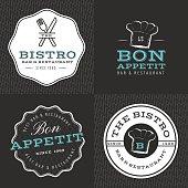 Set of badges, logos for food restaurant, foods shop, catering.