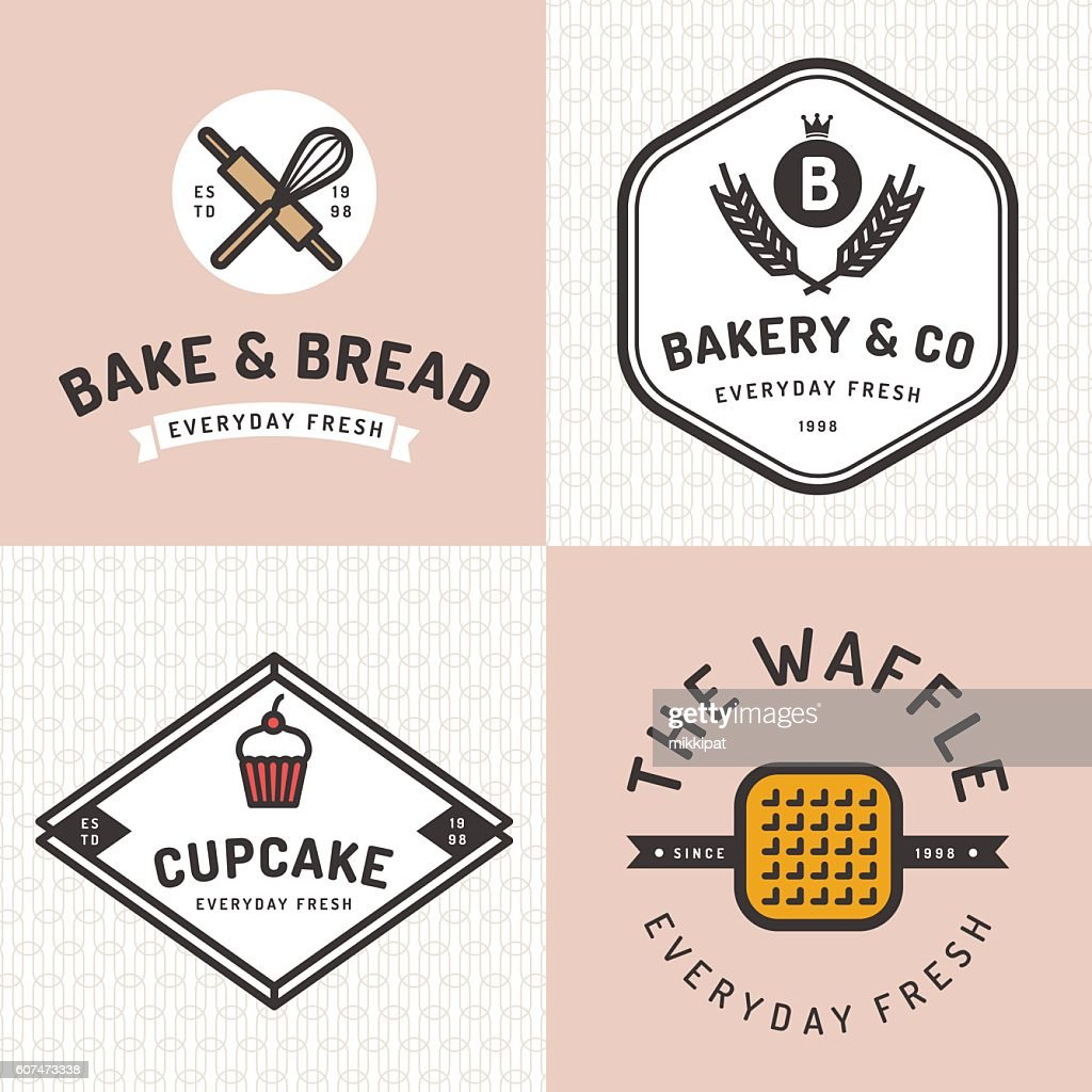 Set of badges, logos, icons for bakery shop with pattern.