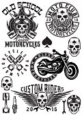 set of badges, logos on theme motorcycles with skulls