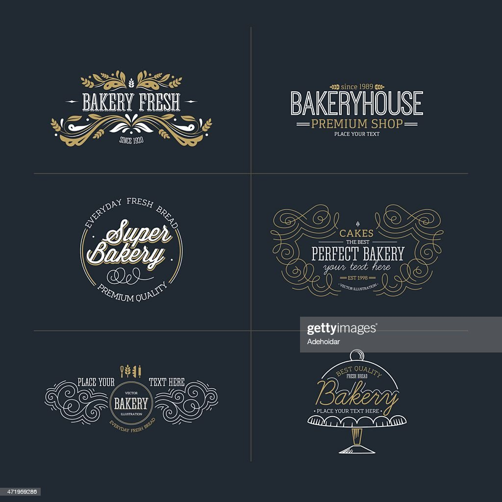 Set of bakery and bread logotypes. Vector illustration