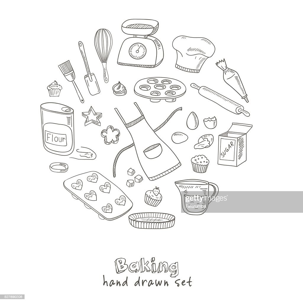 Set of Baking tools. Hand drawn collection