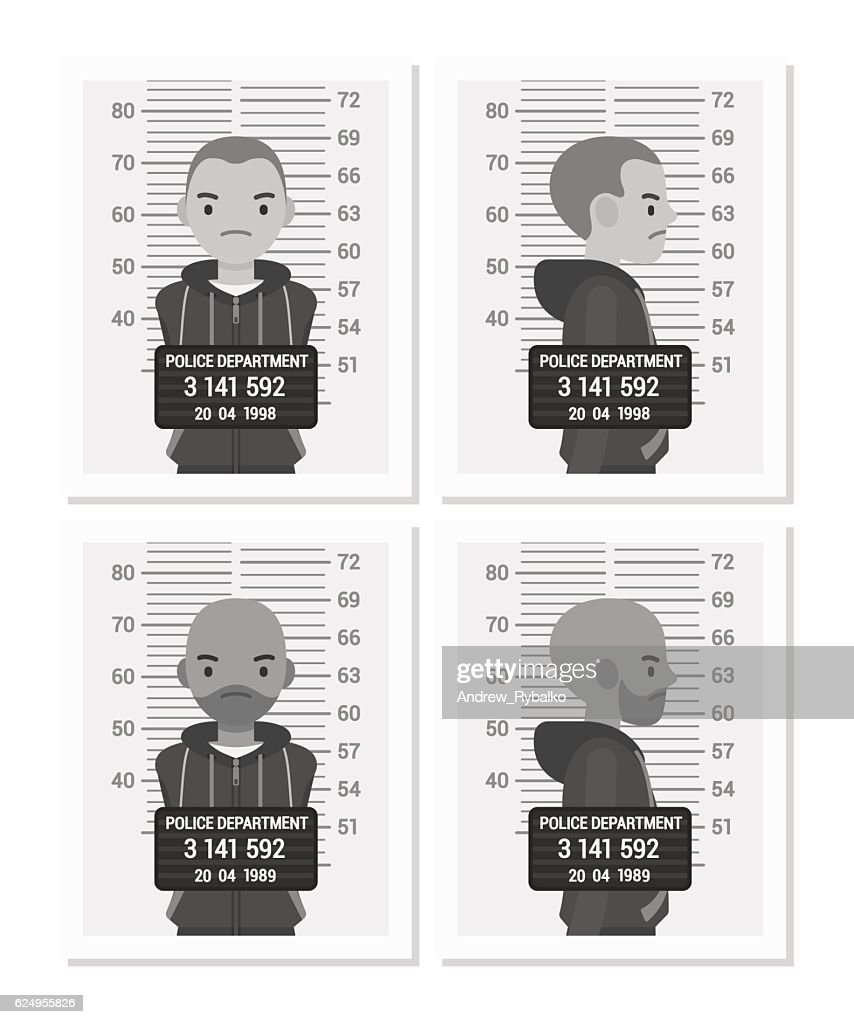 Set of balck and white male mugshots