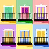 Set of Balconies Flat Vintage Style Vector Illustration