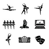 Set of Ballet monochrome icons with - ballet dancers, swan